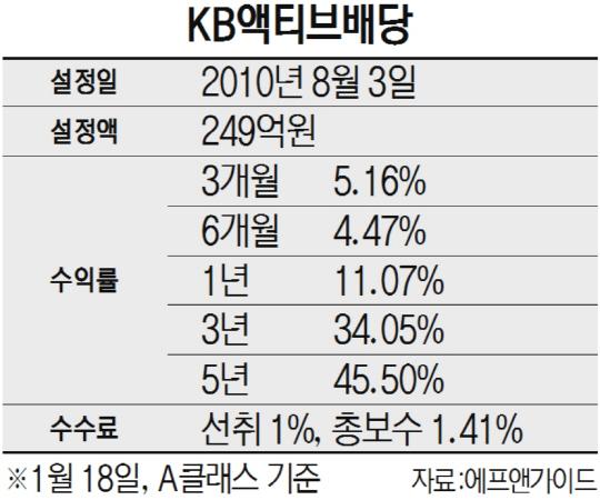 [펀드줌인-KB액티브배당] '성장+배당' 종목 투자...5년 수익률 45%