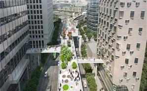 '서울역 고가공원' 대형빌딩들과 통로 공중연결