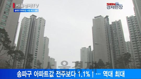 [서울경제TV] 강남이어 송파구 아파트값도 사상 최대 상승