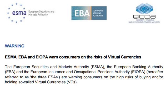 """유럽감독청 """"암호화폐 투자 위험하다"""" 경고"""