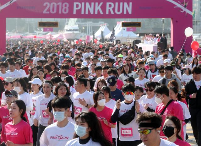 부산서 '아모레퍼시픽 핑크런 마라톤'