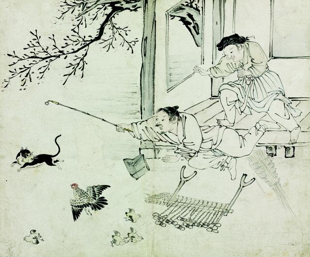 [조상인의 예(藝)-김득신 '야묘도추'] 병아리 물어가는 들고양이...스냅사진처럼 생생한 '봄날의 소동'