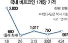 폭락하던 비트코인 1,000만원대 회복