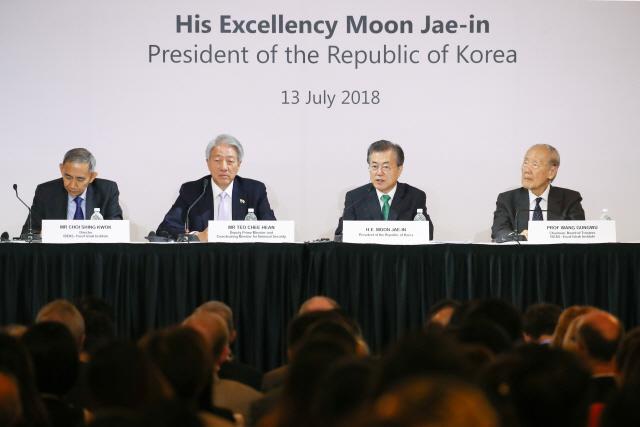 文대통령, 싱가포르서 '포스트 비핵화' 청사진 제시