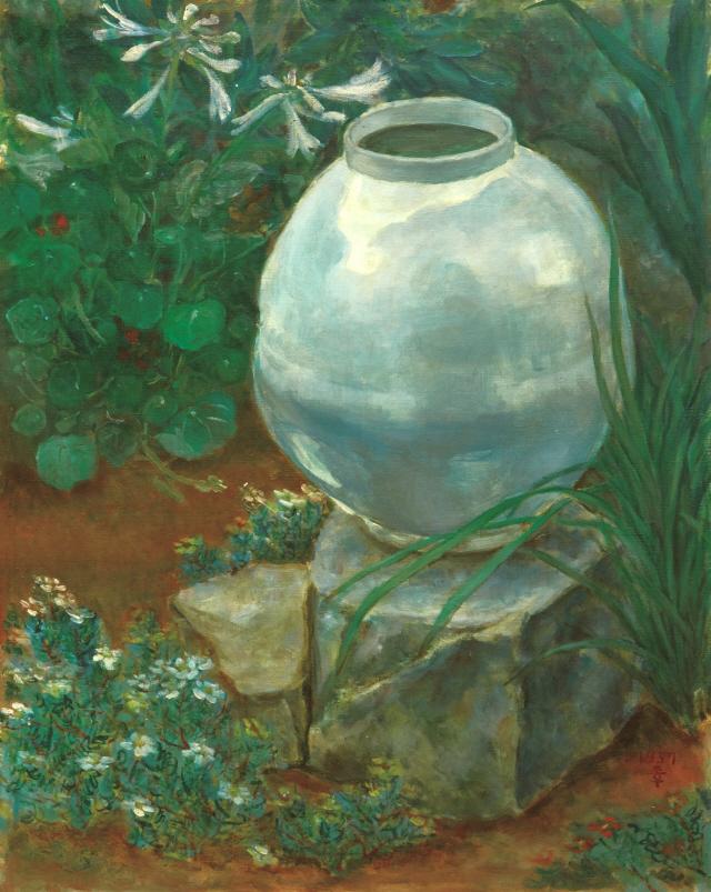 [조상인의 예(藝)-74이종우 '아침']신록의 정원에 놓인 백자...청초한 아름다움을 뽐내다