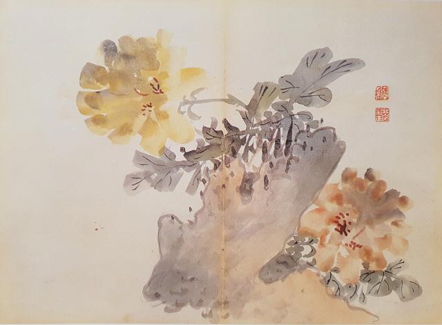 [조상인의 예(藝)-75김수철 '백분홍련']흰 항아리에 분홍빛 연꽃...우아한 기품 수묵으로 담다