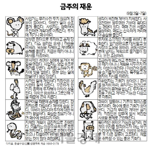 금주의 재운[9월3일~7일]