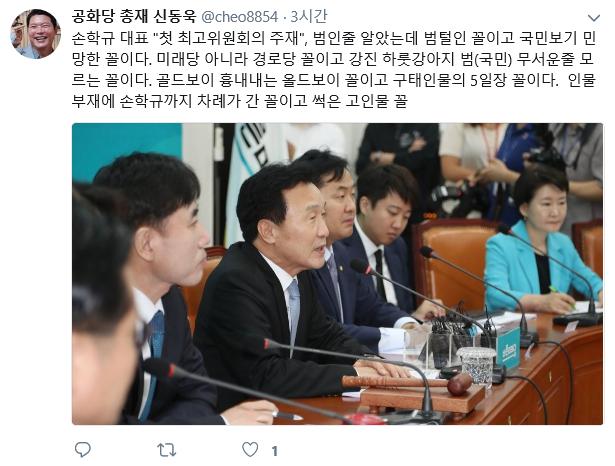 신동욱, 손학규 대표 저격? '골드보이 흉내내는 올드보이 꼴'