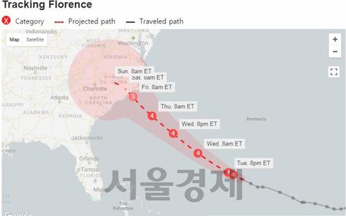 초대형 허리케인 플로렌스에 美남동부 초비상…150만명 대피령