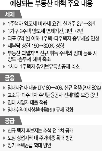 [부동산대책 13일 발표] 1주택자까지 稅·대출 전방위 옥좨...임대사업자 LTV 80→40% 규제 적용