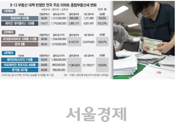 [9·13 주택시장 안정대책] 아크로리버·은마 2주택자 종부세, 912만원 → 2,367만원