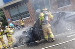 평창서 BMW 520d 주행 중 화재…'잠잠하더니 또'