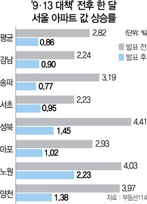 [9·13 대책 한 달] 서울 아파트값 상승폭 한달새 3분의 1로 '뚝'