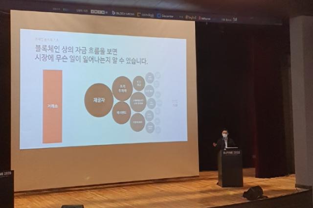 [D.FINE 2020]주기영 크립토퀀트 대표 '평균 암호화폐 거래소 입금양·고래 움직임 등으로 비트코인 가격 전망'