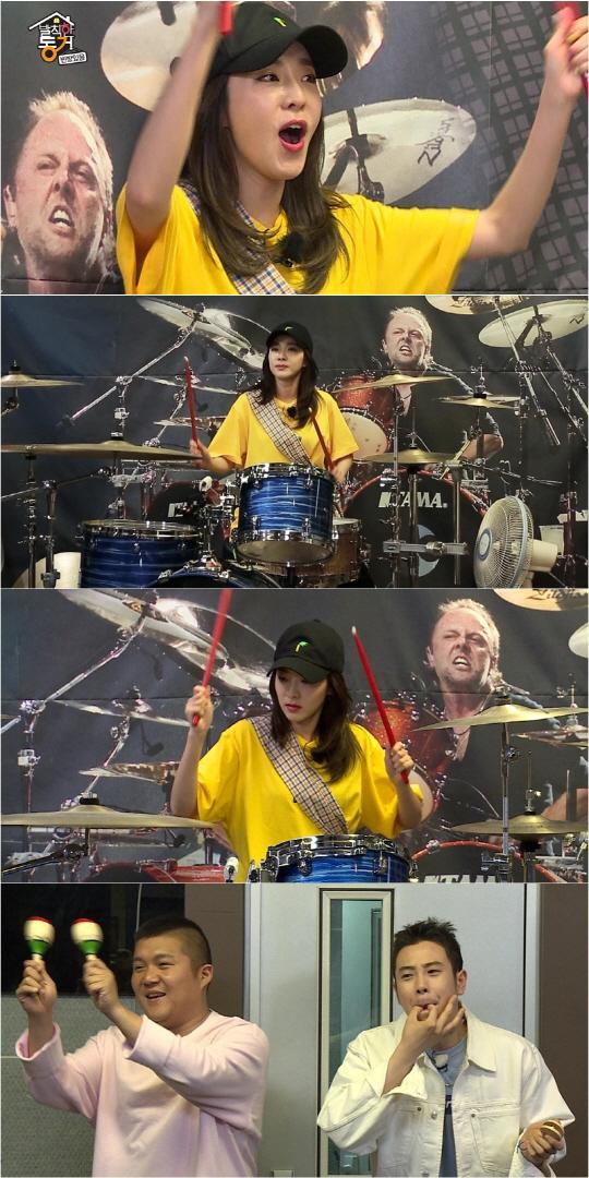 '발칙한 동거' 산다라박, 파워풀한 드럼 연주…반전 카리스마