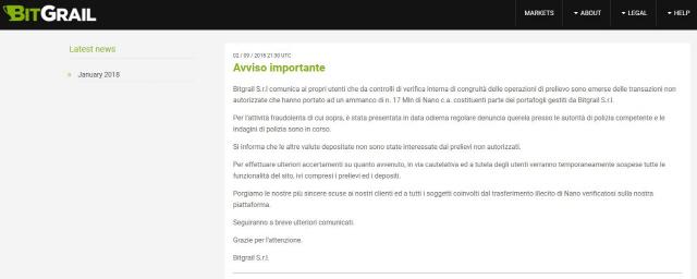 가상화폐 거래소 또 해킹…이탈리아 비트그레일 1,850억원 피해