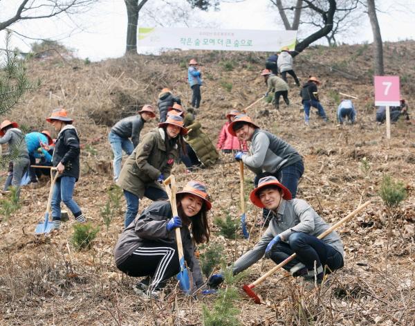 유한킴벌리, 미세먼지 저감 위한 '신혼부부 나무심기' 참가모집