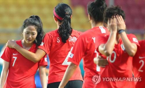 '자책골' 여자축구 일본에 1-2 석패…이민아 '선수들 속상해 해' 눈물
