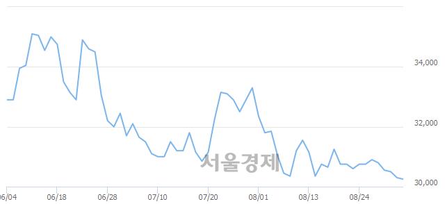 유한국전력, 장중 신저가 기록.. 30,200→30,100(▼100)