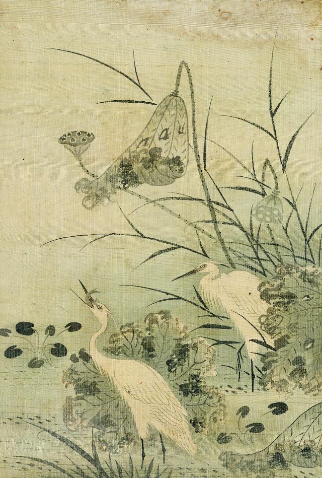 [조상인의 예(藝)-77이징 '연지백로']시든 연줄기 옆에 선 백로 한 쌍...일로연과를 기원하다