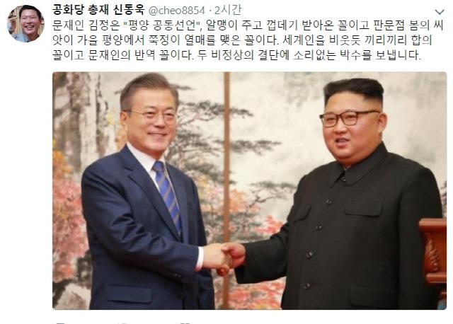 신동욱 '평양 공동선언, 알맹이 주고 껍데기 받아…문재인의 반역꼴' 주장