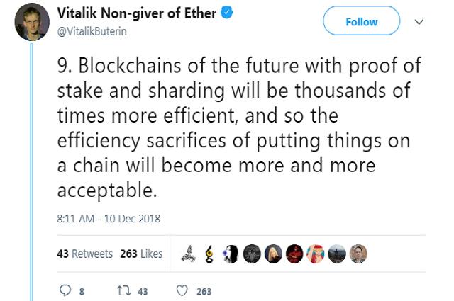 비탈릭 부테린 'PoS, 샤딩 갖춘 미래의 블록체인은 현재보다 수천배 효율적'