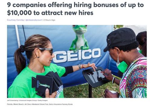 美 기업들, 인력확보 위해 신입에 최대 1,000만원 채용보너스