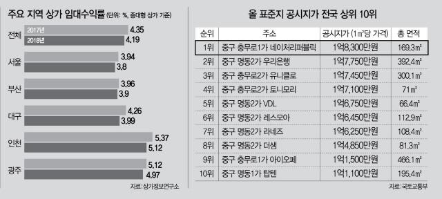 [표준지 공시지가 9.42% 인상]맥 못추던 상업용 부동산 '설상가상'