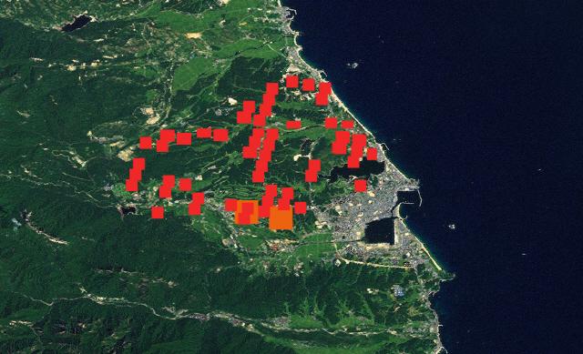 NASA 위성에 잡힌 동해안 산불 상황