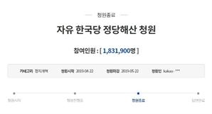 """""""자유한국당 해산하라' 183만명의 외침…청와대 뭐라고 답할까?"""