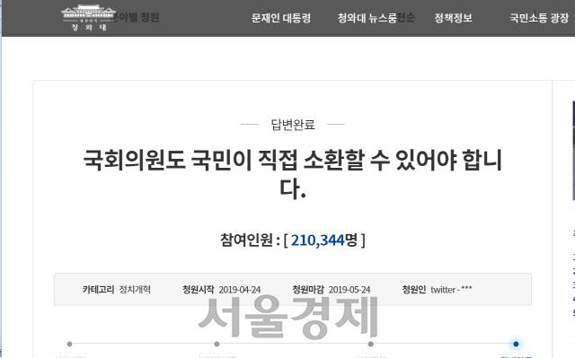 靑 '국회의원 소환제' 청원에 '20대 국회서 통과돼야'