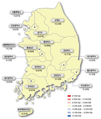 강남구 아파트값 34주만에 상승 전환..서울은 30주만에 최저 낙폭