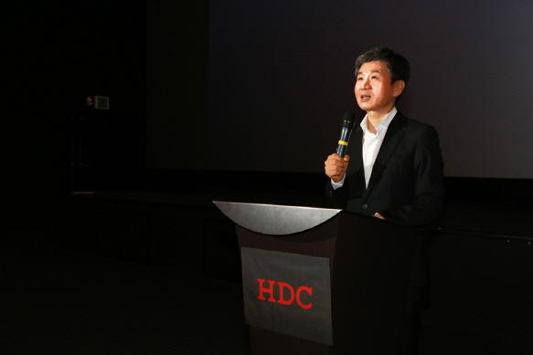 워크숍서 인사말 하는 정몽규 HDC그룹 회장