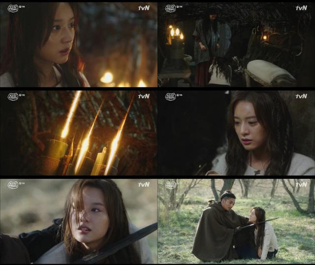 '아스달 연대기' 김지원 깨어난 영능, 신비+섬뜩 검은 연기의 환상