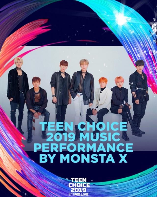 몬스타엑스, 11일 美 '2019 틴 초이스 어워즈' 참석..스페셜 무대 꾸민다