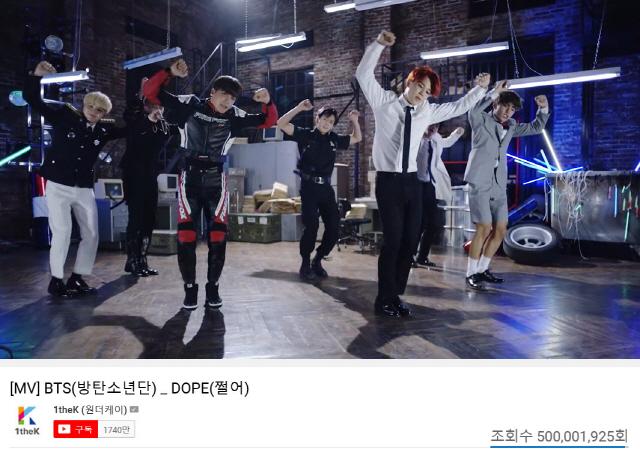 방탄소년단, '쩔어' 뮤직비디오 5억뷰 돌파..6번째 韓 가수 최다 기록 자체 경신