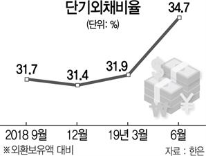 단기외채 비율 34.7%…4년9개월만에 최고치