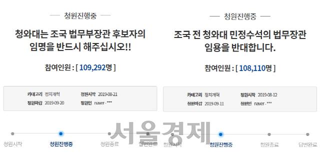 """조국 둘러싼 국민청원 접전…""""국민이 지킨다"""" VS """"철회해라"""""""