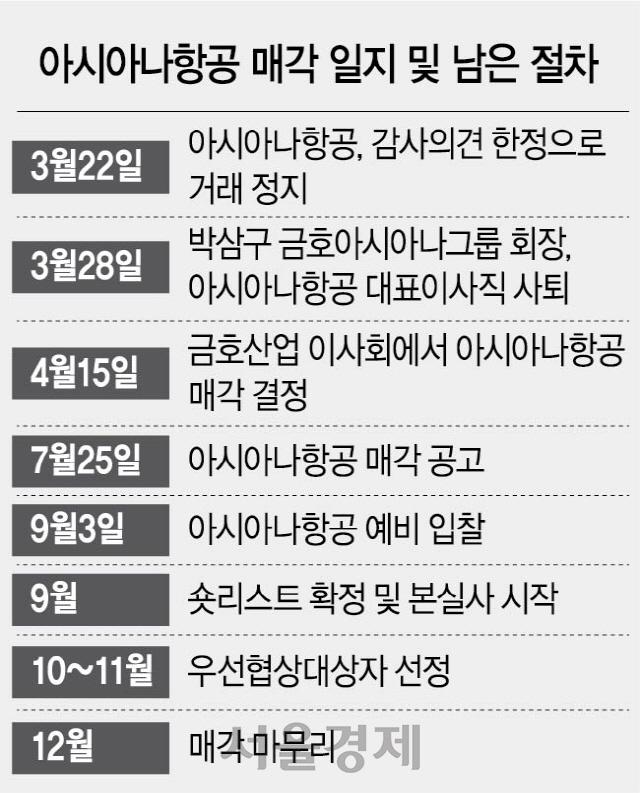 아시아나 내달 3일 예비입찰...'3단계 인수자금 계획 내놔라'