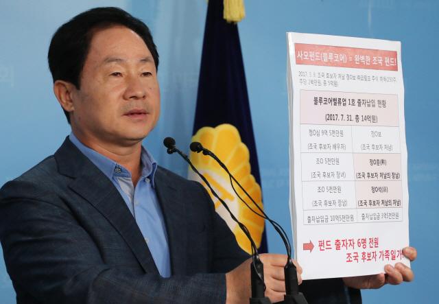"""주광덕 """"블루 펀드 투자자에 조국 처남 자녀 포함…완벽한 '가족펀드'"""