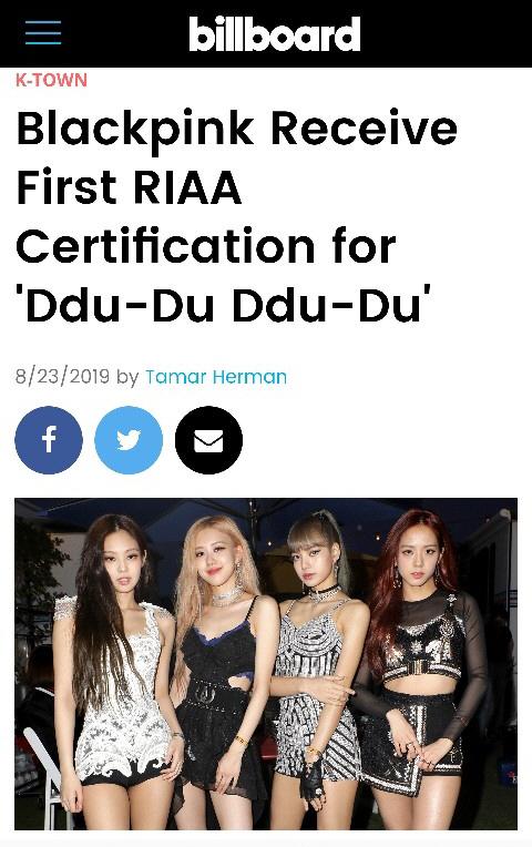 블랙핑크 '뚜두뚜두', K팝 걸그룹 최초 RIAA 골드 인증