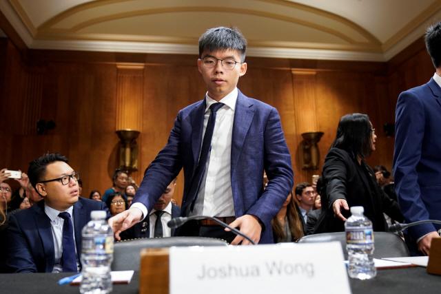 [사진] 美의회 선 조슈아 웡 '홍콩 인권법안 통과를'