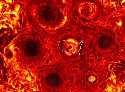 태양계에서 가장 큰 목성..남극 오각형 폭풍 구조 육각형으로 변화