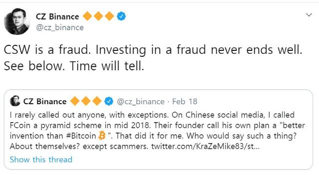 """창펑 쟈오 바이낸스 CEO """"크레이그 라이트는 사기꾼…BSV 투자하지 말라"""""""