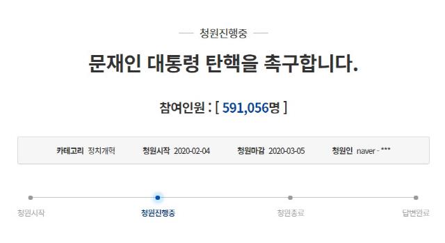문재인 대통령 탄핵 청원 60만명 목전…'더 이상 지켜만 볼 수 없다'