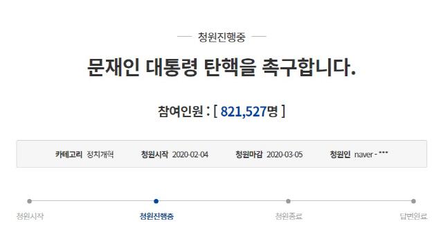 문재인 대통령 탄핵 청원 80만명 돌파…하루 만에 50만명 급증