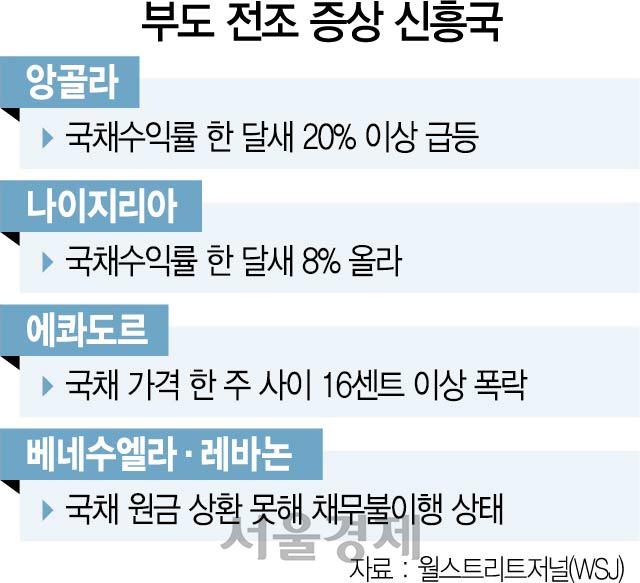 '신흥국 부도' 전조증상 팽배…달러채권 고위험국 18개로
