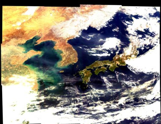 '천리안2B'로 찍은 한반도 첫 영상...동해는 청정, 서해엔 녹색띠