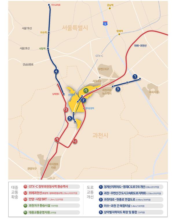 위례~과천선과 GTX-C노선 연결...국토부, 과천·하남 3기신도시 교통대책 발표