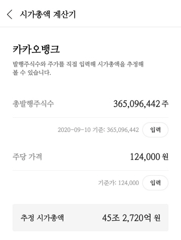 '카뱅' 장외몸값 45조, 4대 금융지주 합산 시총 넘었다